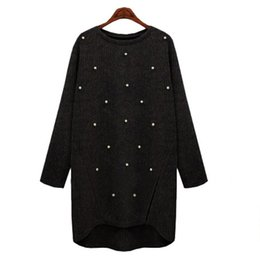 Wholesale Black Large Pearls - 2017 autumn winter European and American large-size womenswear new style of women's style loose nail pearl knitted coat