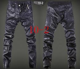 Wholesale Brown Leather Skinny Pants - Hip Hop Fall Spring Fashion Zippers Slim Men Jogger Pants PU Leather Black Skinny Motorcycle Pants Men Full Length Casual Pants
