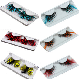 Wholesale Feather False Lashes - 40 Kinds Colorful Beauty Feather False Eyelashes Eyes Makeup Feather eyelashes for party red dots stage exaggeration