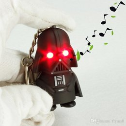Wholesale Lighting Keyring - X20 LED Star Wars Darth Vader Keychains with Sound Light Lamp Flashlight Keychain YODA Black Star Wars LED Keyrings Luminous Dark Warrior