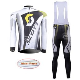 Wholesale Scott Winter Cycling - New 2017 Scott cycling jersey long sleeve bike pants set Ropa Ciclismo winter thermal fleece mens cycling wear bicycle Maillot Culotte L1301