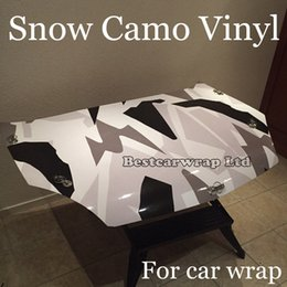 Wholesale White Tail - Winter Snow Camo VINYL Wrap Full Car Wrapping Acrtic Black White Grey Camo Foil Stickers with air free size 1.52 x 30m Roll Free Shipping