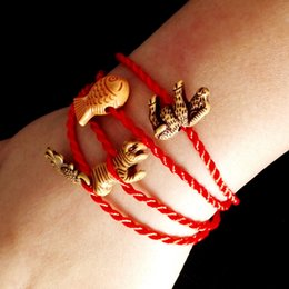 Wholesale Wholesale Mascot Charms - Wholesale-Bracelets For Women Good Lucky Thin Red Thread String Rope Ankle Chain China Style Charm Bracelet With A Mascot SH1001