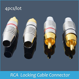 Wholesale Locking Rca Plug Gold - Sindax Locking cable connector adapter Locking Plug Audio Video Locking RCA Connectors Gold Plated RCA Plug 10 pcs lot