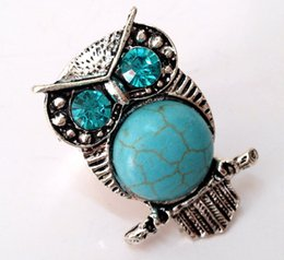 Wholesale Tribal Vintage Rings - Wholesale-top-quality natural turquoise stone BLUE CRYSTAL vintage silver OWL tribal lady's Ring adjustable