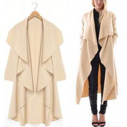 Al por mayor-Elegante Mujer Dama Casual Cardigan Sólido de manga larga X-Long Waterfall Coat Outwear 2Color desde fabricantes