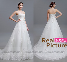 Wholesale Strapless Lace Column Wedding Dress - 100% REAL IMAGE Wedding Dresses Backless Beach Lace Bridal Gowns Sheath Strapless Appliques Beaded Vintage Garden Court Train Bridal Dress