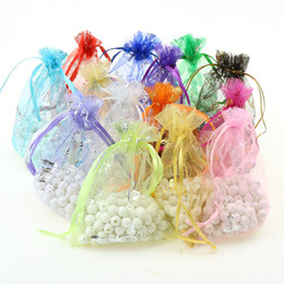 Wholesale Organza Gift Bags Green Dark - Fashion Jewelry Bags Butterfly Christmas Gift Pouches Bag Candy Bags Pouch Bags For Wedding Favors Beads SIZE 9*12CM