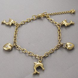 Wholesale Dolphin Bracelets - Fashion Gold Plated Women Rhinestone Hearts Dolphins Bracelet Charm 2104 New Arrival Jewelry Link Chain Steel Free Shipping