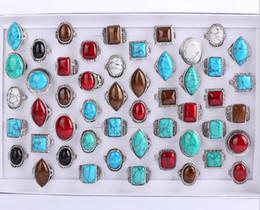 2019 anéis oval turquesa moda O antigo anel de prata Turquesa mistura estilo Rodada / oval / diamante / quadrado anel de turquesa anéis oval turquesa barato