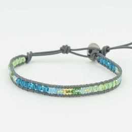 Wholesale Single Strand Leather Bracelet - Wrap Bracelets, single-strand, black agate beads with skull & friendship weaving leather cord wrap bracelet for man woman