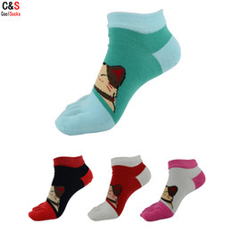Wholesale Cute Toe Socks For Women - Wholesale-C&S(5Pairs lot)Fashion Cartoon Cute Cotton Five Fingers Socks For Women Casual Toe Socks Ladies New Brand Short Ankle Socks