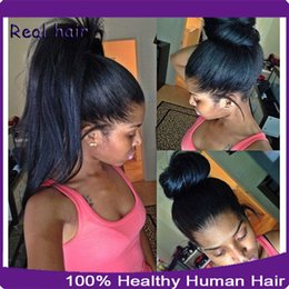 Wholesale Black Ponytails Hairstyles - High Ponytail Lace Front Wig   Full Lace Human Hair Wigs For Black Women Silky Straight Virgin Brazilian Hair Wigs With Baby Hair