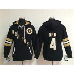 Wholesale Womens Pullover Hoodie Xl Xxl - Hot Girls Black Hockey Hoodies Bruins #4 Bobby Orr Ice Hockey Wears Comfortable Womens Sporting Jerseys Cheap Pullover Lace Up Team Hooded