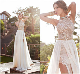 Wholesale Halter Ruffle Vintage Dress - 2016 Hot Real Image White Ivory Color Prom Dresses Halter Beaded Lace Top Backless Pleats Chiffon Beach with Split Evening Party Gown BO5557