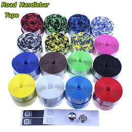 Wholesale Color Bike Handlebars - Wholesale-New 2015 Racing ROAD bike Cycling Handle Belt Bicycle EVA Handlebar Tape Color and Camouflage 16 colors Excellent quality