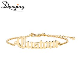 Wholesale Dainty Bracelets - wholesale  Adult Old English Cutting Name Bracelet Personalize Gold Bracelet Best Friend Dainty Jewelry for women Etsy fashion