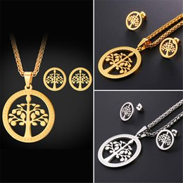 Wholesale Golden Studs - U7 New Tree of Life Pendant Necklace Stud Earrings 18K Gold Plated Stainless Steel Sacred Tree Religious Jewelry Set Perfect Gifts GPE2577