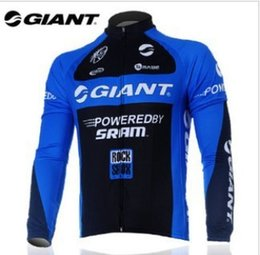 Wholesale Giant Jersey Only - Wholesale-giant black and blue long sleeve cycling jersey cycling wear clothes bicycle bike only long jersey