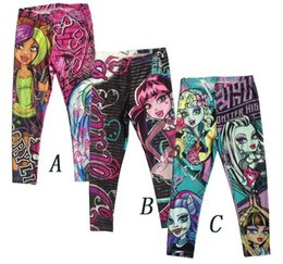 Wholesale wholesale cartoon leggings - Monster High Girls Leggings Zombie Girl Cartoon Kids Legging Pants Clothing 6Y-16Y