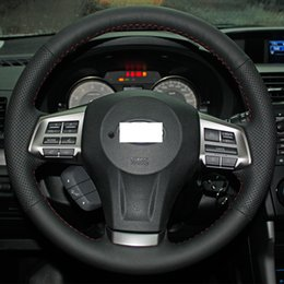 Wholesale Cover Subaru Forester - XuJi Steering Wheel Cover for 2013 2014 Subaru Forester Legacy Outback XV Car Special Hand-stitched Black Genuine Leather Covers