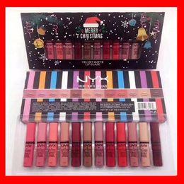 Wholesale christmas shipping gift box - 2017 New NYX 12 colors Merry Christmas lipstick lip gloss set big box for Chrstmas gift free shipping