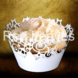 Wholesale Cupcake Wrappers For Sale - 120pcs in a lot ST1010-21 Hot Sale Laser Cutting Star Cupcake Wrapper for Wedding Party Decoration