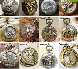 Wholesale Wholesaler Pocket Watches - Wholesale-2015 new arrival vintage eagle the hunter games men Large quartz pocket watch horse owl pocket & fob watches wholesale