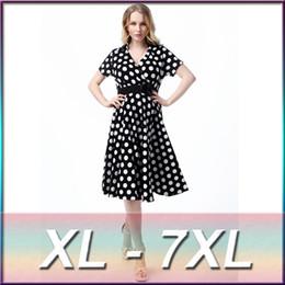 Wholesale Big Polka Dot Women Dress - XL-7XL Large Plus Size Women's Fashion White Polka Dot Print Cotton Dress Big Size Summer Women Flower Sashes Black Dress MF5014