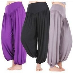 Wholesale Loose Trousers For Women - Casual Capris Loose Bloomers LargeTrousers Wide Leg Pants Soft yoga Pants Fitness Dancewear Men's Capri Harem Trousers For Women S- 5XL
