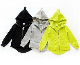 Wholesale Girls Solid Yellow Hoodie - New 2015 The Dinosaur Hoodies Kids Jackets & Coat Boys Girls Outerwear Baby Cardigan Spring Autumn Winter Sweatshirts