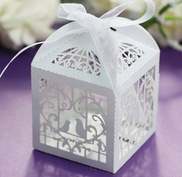 Wholesale Wedding Gifts Bomboniere - 100 Love Bird Laser Cut Wedding Bomboniere Chocolate Candy Gift Box with Ribbon