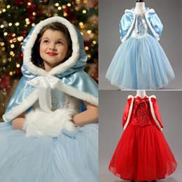 Wholesale Winter Capes For Wedding Dresses - 2015 New Cinderella Kids Dress Retail Princess Girl Dress With cape wedding For Cinderella Cosplay Costume Girl Fancy Dresses A-0277
