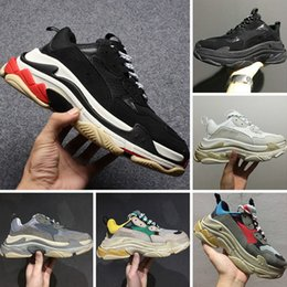 Wholesale Thick Sole White Shoes - 2017 Autumn Winter Casual Shoes 17FW Triple-S Leather and Mesh Thick Soled Shock Absorption Running Sneakers
