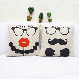 Wholesale Mustache Case Cover - 2pcs Thick Cotton Linen Decorative Throw Pillow Cover Cushion Case Pillow Case Mr. Mustache & Mrs. Lip Glasses Pillowcases 18''