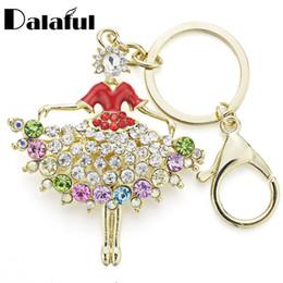 Wholesale Blue Dancer - beijia 2017 New Design Ballet Ballerina Dancer Crystal HandBag Pendant Keyrings Keychains Purse Buckle Key chains For Car K095