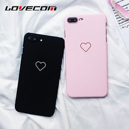 Wholesale Couples Iphone Cases - Love Heart Painted Phone Case For iphone 6 6S 6Plus 7 8 8plus Fashion Couples Back Cover Ultra Thin Matte Hard PC Coque