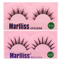Wholesale Marlliss Eyelashes - Original Marlliss 609.610 Dense False Eyelashes Black Crisscross Professional Eyelash Extension with Glue Freeshipping EUB
