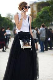 Wholesale Long Maxi Princess Skirt - 2015 Fashion Black Women Skirt Multideck Tulle Floor Length Long Bouffant Princess Maxi Plus Size High Waist Street Skirt