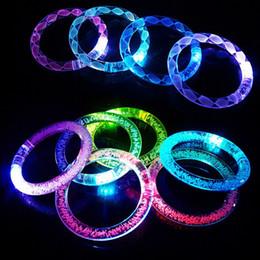 Wholesale glow sticks rings - Acrylic LED Flash Bracelet Glitter Glow Light Hand Ring Sticks Luminous Crystal Gradient Colorful Bangle Stunning Dance Party Christmas Gift