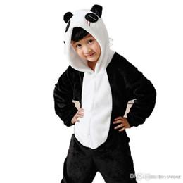 Wholesale Kigurumi For Kids - Kigurumi Pajamas Panda Leotard Onesie Festival Christmas Animal Sleepwear Halloween White Black Patchwork Flannel Kigurumi For Kids