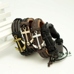 Wholesale Anchor Braid Bracelet - Vintage Braided Anchor Leather Bracelets Fashion Women Men's Handmade Black Coffee Bracelet bangles Couple Christmas Gifts free shipping