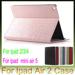 Wholesale Ipad Crocodile Mini - For Apple iPad air2 air 2 5 iPad 2 3 4 iPad Mini4 Mini 4 Croco Crocodile Snake Leather case stand holster