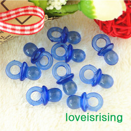 Wholesale Acrylic Cupcake - Free shipping--500pcs Mini Acrylic Clear Royal Blue Baby Pacifier Baby Shower Favors~Cute Charms ~cupcake decorating