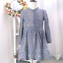 Wholesale Boat Lanterns - 2017 Spring Girls lace Flower Dresses embroidery Kids Party Dresses Fashion Princess Dress Toddler Pageant Cute Gray Children Wear LH06