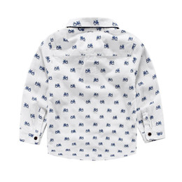 Wholesale Wedding Bow For Boys - New arrival Spring Children clothing cars print Gentleman Bow middle boy Long sleeve shirts for wedding kids clothing wholesale