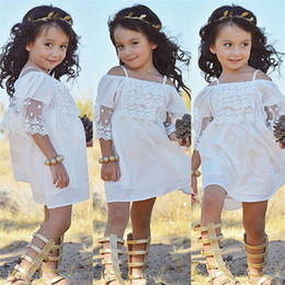 Wholesale Girls Short Natural Pageant Dresses - Boutique Girls Clothing Kids Princess Dress Baby Party Wedding Pageant Formal Mini Cute Off-shoulder White Lace Dresses Baby Girls Clothes