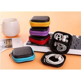 2019 3gs mic La caja de almacenamiento de la PU de la moda 5PCS lleva la caja para los auriculares / el auricular / la línea de datos / la llave