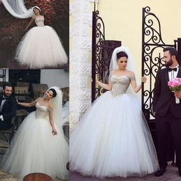 Wholesale Strapless Tulle Ball Gown Embroidery - 2016 Mhamad Ball Gown Wedding Dresses Off Shoulder Crystals Beaded Tulle Bridal Gowns Beading Straps Floor Length Wedding Gowns Custom Made