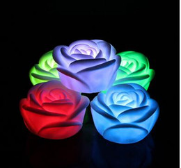 Wholesale Table Lamp Led Flowers - Changeable Color LED Rose Flower Candle lights smokeless flameless roses love lamp Light Up Free Battery Table Home Decoration Gift
